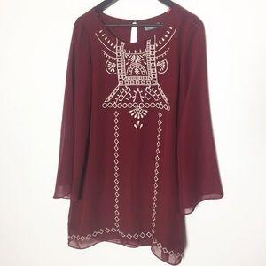 Vintage Burgundy White Aztec Boho Shift Dress C3